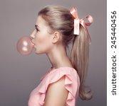 beautiful blonde woman. fashion ... | Shutterstock . vector #245440456