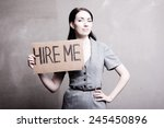 young girl holds a cardboard... | Shutterstock . vector #245450896