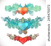 hearts with wings. colorful... | Shutterstock .eps vector #245470372