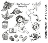 vector set of hand drawn... | Shutterstock .eps vector #245472055
