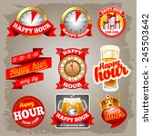 set of happy hour labels for... | Shutterstock .eps vector #245503642