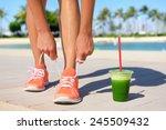 running woman runner with green ... | Shutterstock . vector #245509432