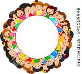crowd of children with blank... | Shutterstock . vector #245509948
