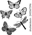 silhouette set of isolate... | Shutterstock .eps vector #245567596