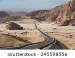 Road Through Desert  Mountains...