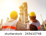 refinery workers discussion and ... | Shutterstock . vector #245610748