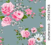 seamless pattern with pink... | Shutterstock .eps vector #245615416