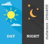 sun and moon  day and night.... | Shutterstock .eps vector #245618455