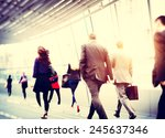 Stock photo business people walking commuter travel motion city concept 245637346