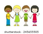 four best friends | Shutterstock .eps vector #245655505