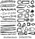 doodle  set hand drawn shapes ... | Shutterstock .eps vector #245655796