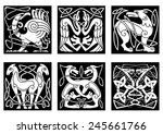 celtic animals and birds with... | Shutterstock .eps vector #245661766