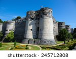 Small photo of Keep at the Chateau d'Angers or the famous historic castle of Angers, once capital of Anjou, in Marne-et-Loire, France.