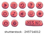 set of red wooden round buttons ...