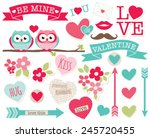 be my valentine  owls  | Shutterstock .eps vector #245720455