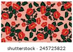 vector floral pattern. poppies... | Shutterstock .eps vector #245725822