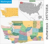 map of washington state... | Shutterstock . vector #245731816