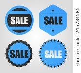 sale vector vintage blue badges | Shutterstock .eps vector #245734585