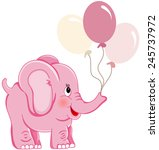Cute Pink Elephant Holding...