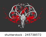 black and white deer skull with ... | Shutterstock .eps vector #245738572