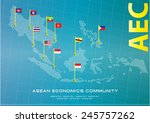 asean map dotted with flag... | Shutterstock .eps vector #245757262