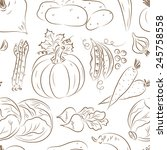 vegetables seamless pattern.... | Shutterstock .eps vector #245758558