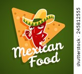 vector emblem of mexican food... | Shutterstock .eps vector #245812555