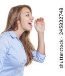 shouting young businesswoman... | Shutterstock . vector #245832748