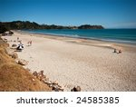AUCKLAND - FEB 7, 2009. New Zealand's dramatic scenery is a major drawcard for visitors.  This beach on Auckland's Waiheke Island is typical of the country's coastline. Pictured on Feb 7, 2009 - stock photo