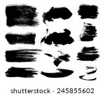 set of black traced ink strokes.... | Shutterstock .eps vector #245855602