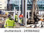 surveyor and building workers... | Shutterstock . vector #245864662