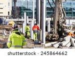 surveyor and building workers...   Shutterstock . vector #245864662