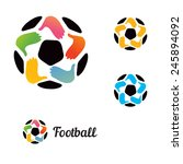 logo with a soccer ball with...