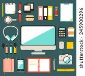 big set of flat modern design...   Shutterstock .eps vector #245900296