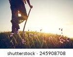 legs of a man on summer meadow... | Shutterstock . vector #245908708