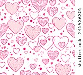 hearts and dots doodle seamless ... | Shutterstock .eps vector #245936305