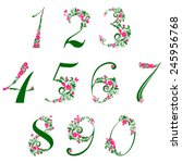 floral numbers set isolated on... | Shutterstock .eps vector #245956768