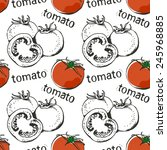 tomato hand drawn pattern  food ... | Shutterstock .eps vector #245968885