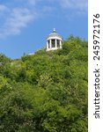 """Small photo of Arbour with columns """"Aeolian Harp"""" on wooded mountainside. Pyatigorsk."""
