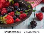 fresh summer berries fruits in...   Shutterstock . vector #246004078