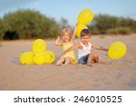 portrait of a boy and girl on... | Shutterstock . vector #246010525