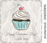 Valentine Card With  Cupcake...