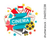 cinema sign with cinema icons... | Shutterstock .eps vector #246051238