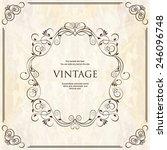 elegant vintage frame with... | Shutterstock .eps vector #246096748