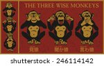 the three wise monkeys.mizaru ... | Shutterstock .eps vector #246114142