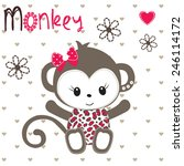 cute monkey girl on polka dot... | Shutterstock .eps vector #246114172