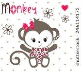 cute monkey girl on polka dot...   Shutterstock .eps vector #246114172