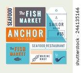 flat sea food restaurant sign ... | Shutterstock .eps vector #246135166