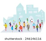 people in the city illustration ... | Shutterstock .eps vector #246146116