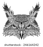 psychedelic owl head tattoo | Shutterstock .eps vector #246164242